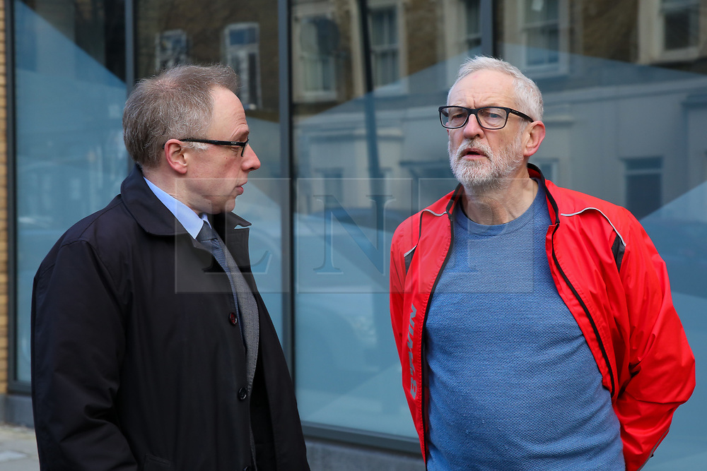 © Licensed to London News Pictures. 04/01/2020. London, UK. Leader of Islington London Borough Council, RICHARD WATTS (L) and Leader of Labour Party, JEREMY CORBYN (R) at the crime scene in Finsbury Park. Police launch a murder investigation following a death of a man in his 30s on Friday 3 January 2020. Police were called at approximately 6.50pm to reports of a man stabbed and the he was pronounced dead at the scene just after 7.30pm.  Photo credit: Dinendra Haria/LNP