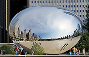 "End view of ""Cloud Gate"" stainless steel sculpture by Anish Kapoor at Millenium Park, Chicago, Illinois"