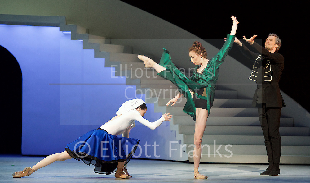 Bolshoi Ballet <br /> The Taming of the Shrew <br /> choreography by Jean-Christophe Maillot <br /> at The Royal Opera House, Covent Garden, London, Great Britain <br /> rehearsal of act 1<br /> 3rd August 2016 <br /> <br /> Ekaterina Krysanova as Katherina<br /> <br /> Olga Smirnova as Bianca <br /> <br /> <br /> <br /> Photograph by Elliott Franks <br /> Image licensed to Elliott Franks Photography Services