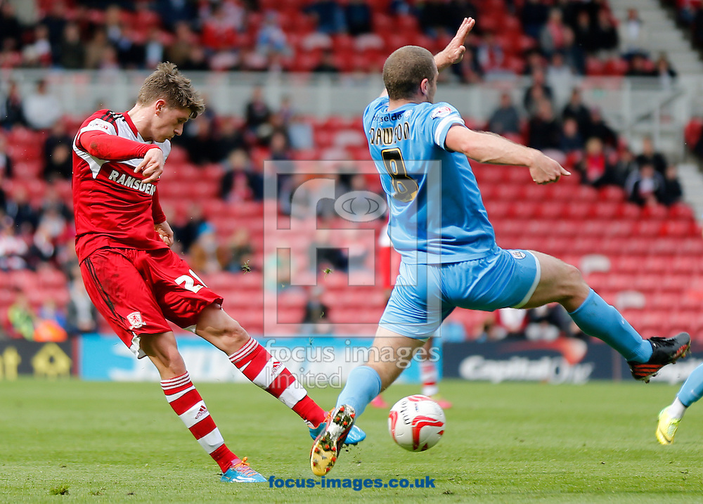 Adam Reach of Middlesbrough shooting during the Sky Bet Championship match at the Riverside Stadium, Middlesbrough<br /> Picture by Simon Moore/Focus Images Ltd 07807 671782<br /> 26/04/2014