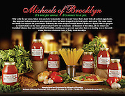 A styled image for Michael's of Brooklyn, the famous Italian restaurant in Brooklyn. I prepared and styled the plate of spaghetti with their jarred sauces and designed the scene with other ingredients found in the different types of sauces. Love creating these set ups from scratch!