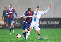 Zvonimir Kozulj of HNK Hajduk vs Filip Bradaric of HNK Rijeka during football match between HNK Rijeka and HNK Hajduk Split in Round #15 of 1st HNL League 2016/17, on November 5, 2016 in Rujevica stadium, Rijeka, Croatia. Photo by Vid Ponikvar / Sportida