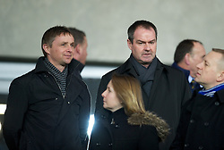 CARDIFF, WALES - Tuesday, February 14, 2012: Liverpool's first team coach Kevin Keene and assistant manager Steve Clarke watch Cardiff City take on Peterborough United during the Football League Championship match at the Cardiff City Stadium. (Pic by David Rawcliffe/Propaganda)