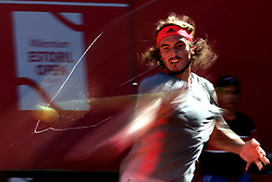May 4, 2019 - Estoril, Portugal - Stefanos Tsitsipas of Greece returns a ball to David Goffin of Belgium during the Millennium Estoril Open semifinal ATP 250 tennis tournament at the Clube de Tenis do Estoril in Estoril, Portugal on May 4, 2019. (Stefanos Tsitsipas won 2-1) (Credit Image: © Pedro Fiuza/NurPhoto via ZUMA Press)