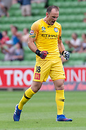 MELBOURNE, VIC - MARCH 03: Melbourne City goalkeeper Eugene Galekovic (18) reacts after his teammate scores the penalty at the round 21 Hyundai A-League soccer match between Melbourne City FC and Perth Glory on March 03, 2019 at AAMI Park, VIC. (Photo by Speed Media/Icon Sportswire)