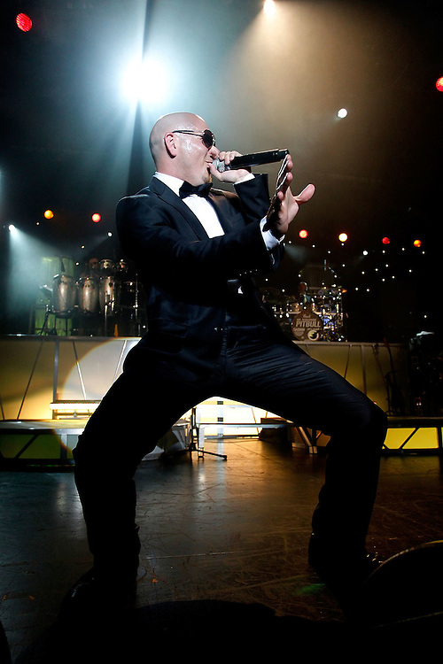 NEW YORK - JUNE 24:  Rapper Pitbull  performs in concert at Nokia Theatre on June 24, 2010 in New York City.  (Photo by Joe Kohen/WireImage for New York Post)