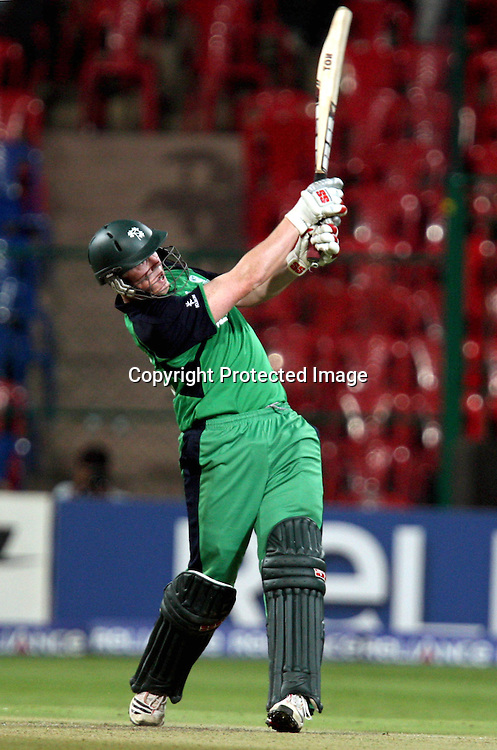 "Ireland batsman Kevin o"" Brien plays a shot against England during the ICC Cricket World Cup - 15th Match, Group B Ireland vs England Played at M Chinnaswamy Stadium, Bangalore, March 2011 - day/night (50-over match)"