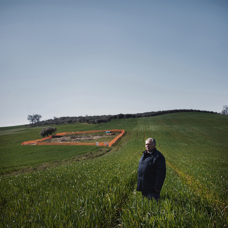 Giovanni Dell'Elce, owner of a small piece of land located near the construction site of one of the hundreds of pylons planned to make way for the new Villanova-Gissi mega power line.<br /> Sant'Onofrio (CH)