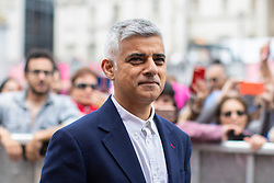 © Licensed to London News Pictures. 08/06/2019. London, UK. Mayor of London Sadiq Khan arrives before speaking at an event in Trafalgar Square to celebrate Eid ul-Fitr - the breaking of the fast. The festival marks the end of Ramadan, a holy month in the Muslim calendar when Muslims fast during the hours of daylight. This year, Eid occurred on Tuesday 4 June. Photo credit : Tom Nicholson/LNP