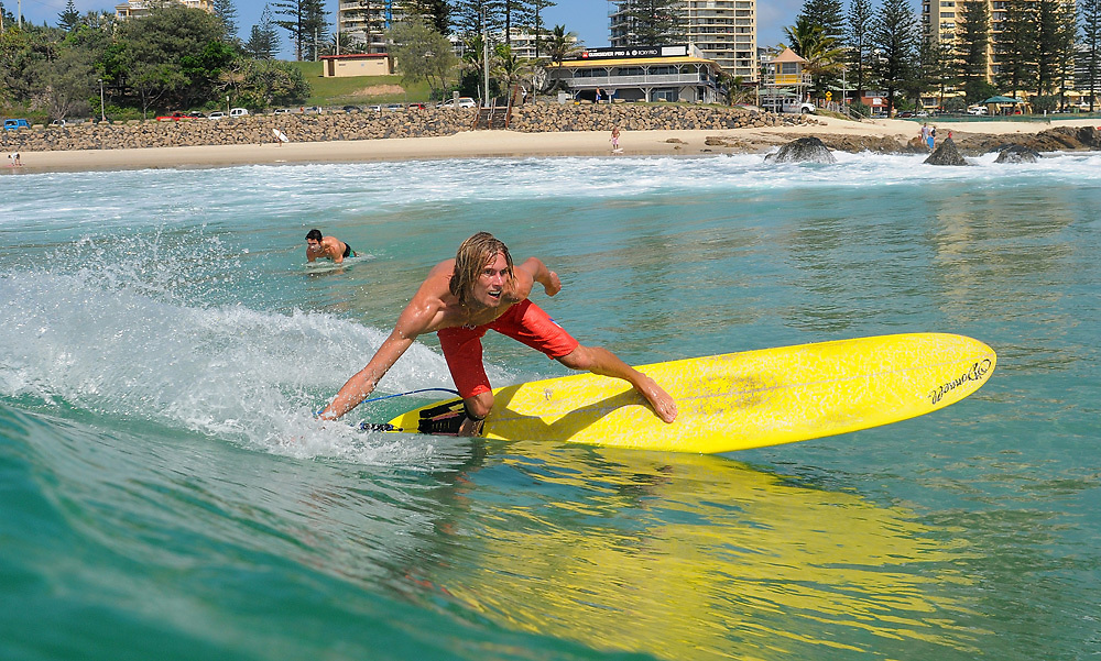 March 23, 2010: Lawrence Harkness surfs at Snapper Rocks on the Gold Coast. Photo by Matt Roberts