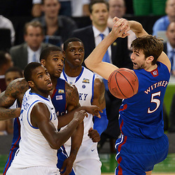Apr 2, 2012; New Orleans, LA, USA; Kansas Jayhawks center Jeff Withey (5) looks back at the ball as forward Thomas Robinson (second from left) and Kentucky Wildcats forward Michael Kidd-Gilchrist (far left) and forward Terrence Jones (second from right) during the second half in the finals of the 2012 NCAA men's basketball Final Four at the Mercedes-Benz Superdome. Mandatory Credit: Derick E. Hingle-US PRESSWIRE