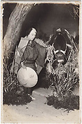 Kabuki actors with one dressed in a horse costume, Nakamura Kabuki Theater, Osaka, 1920s, silver gelatin bromide.<br />