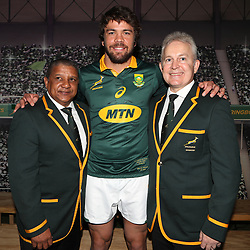 Allister Coetzee (Head Coach) of South Africa with Warren Whiteley (captain) of South Africa and Ian Schwartz (Team Manager) of South Africa during the South African Official Springbok team photograph at the team hotel Southern Sun Pretoria Hotel,Pretoria South Africa. 9th June 2017(Photo by Steve Haag Sports)