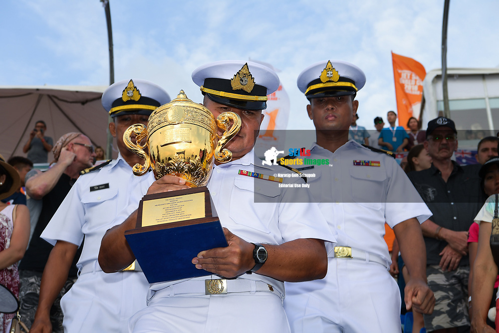 PATTAYA, THAILAND - DECEMBER 09: The Royal Thai Navy with the King's Cup during the Royal Trophy presentation for the Pro Runabout GP at the Thai Airways International Jet Ski World Cup 2018, Jomtien Beach, Pattaya, Thailand on December 09, 2018. <br /> .<br /> .<br /> .<br /> (Photo by: Naratip Golf Srisupab/SEALs Sports Images)<br /> .<br /> Any image use must include a mandatory credit line adjacent to the content which should read: Naratip Golf Srisupab/SEALs Sports Images