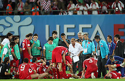 Team Turkey and coach Fatih Terim after the second half time during the UEFA EURO 2008 Quarter-Final soccer match between Croatia and Turkey at Ernst-Happel Stadium, on June 20,2008, in Wien, Austria. Turkey won after penalty shots. (Photo by Vid Ponikvar / Sportal Images)