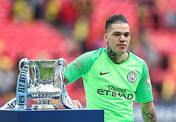 Ederson of Manchester City with the trophy - Mandatory by-line: Arron Gent/JMP - 18/05/2019 - FOOTBALL - Wembley Stadium - London, England - Manchester City v Watford - Emirates FA Cup Final