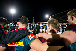 Harlequins U18 huddle after winning the match and the championship - Rogan Thomson/JMP - 16/02/2017 - RUGBY UNION - Sixways Stadium - Worcester, England - Wasps U18 v Exeter Chiefs U18 - Premiership Rugby Under 18 Academy Finals Day 3rd Place Play-Off.
