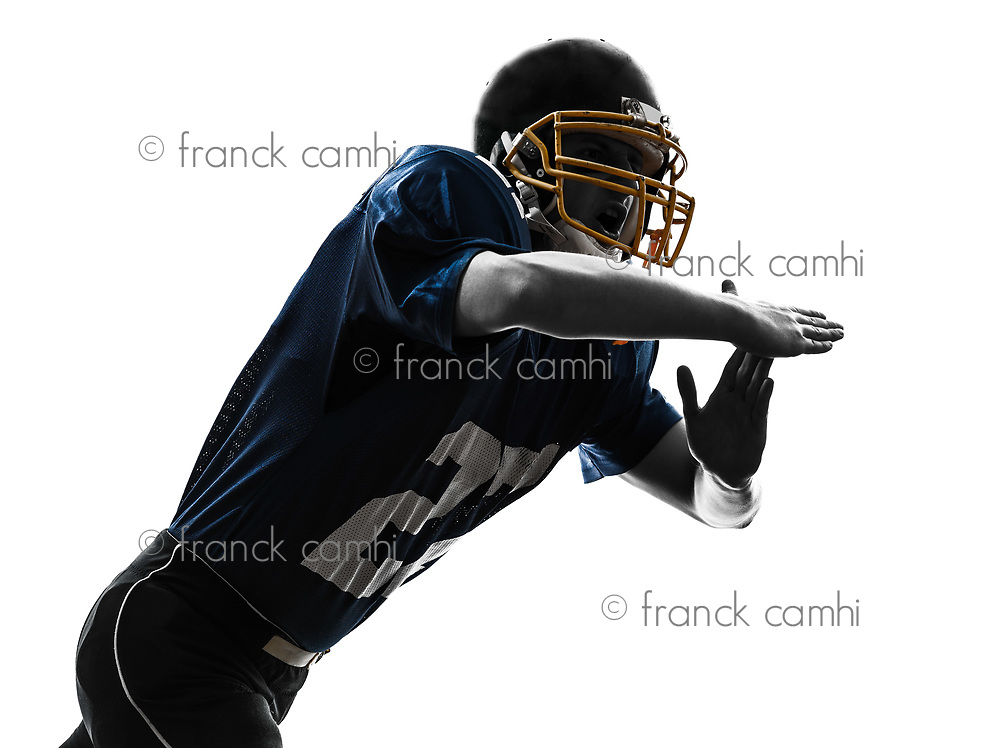 one  american football player man time out gesturing in silhouette studio isolated on white background