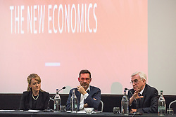 "© Licensed to London News Pictures . 20/04/2016 . Manchester , UK . Shadow Chancellor John McDonnell (r) hosts a lecture by former Newsnight and Channel 4 Economics editor , Paul Mason (c) , entitled "" Economic policy amid global slowdown - A view from the North "" , chaired by Salford MP Rebecca Long Bailey (l) , at the Manchester Conference Centre & Pendulum Hotel . Photo credit: Joel Goodman/LNP"