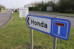 File photo dated 30/01/09 of a sign at the south gate of the Swindon Honda factory, as unconfirmed reports say the company is planning to close its plant in the town in three years time.