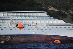 "A rescue worker on  the Wrecked Cruise Ship ""Costa Concordia"" in Giglio, Italy, Photo ByNick Cornish/ I-Images"