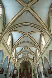 Central America, Nicaragua, Granada.  Interior of Capilla de Maria Auxiliadora church.