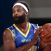 Delaware 87ers Guard BARON DAVIS (34) attempts to pass the ball in the second half of a NBA D-league regular season basketball game between the Delaware 87ers and the Iowa Energy Friday, Mar. 04, 2016. at The Bob Carpenter Sports Convocation Center in Newark, DEL.