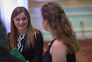 Freshman Alexis Sova talks to her sister Nicole Sova, a senior in the Russ Colloge of Engineering and a Gerald Loehr Outstanding Senior Leader Nominee for chemical and biomolecular engineering, during lunch at the Fritz J. and Dolores H. Russ College of Engineering and Technology Student Awards Banquet, hosted by Tau Beta Pi, the engineering honor society at Ohio University, on April 10, 2016. (Photo by Emily Matthews