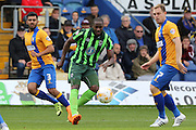 Tom Elliott of AFC Wimbledon, Malvind Benning and Adam Chapman during the Sky Bet League 2 match between Mansfield Town and AFC Wimbledon at the One Call Stadium, Mansfield, England on 5 September 2015. Photo by Stuart Butcher.