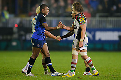 Bath Outside Centre (#13) Semesa Rokoduguni is congratulated by Harlequins Flanker (#7) Luke Wallace after Bath win the match - Photo mandatory by-line: Rogan Thomson/JMP - Tel: Mobile: 07966 386802 23/11/2012 - SPORT - RUGBY - The Recreation Ground - Bath. Bath v Harlequins - Aviva Premiership.