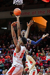 NORMAL, IL - December 08: Terence Davis shoots over Rey Idowu during a college basketball game between the ISU Redbirds and the University of Mississippi (Ole Miss) Rebels on December 08 2018 at Redbird Arena in Normal, IL. (Photo by Alan Look)