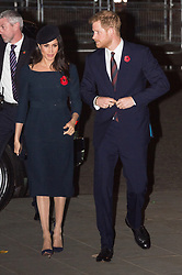 © Licensed to London News Pictures. 11/11/2018. London, UK. Meghan, Duchess of Sussex and The Duke of Sussex attend a Westminster Abbey Service to mark the Centenary of the Armistice ending World War I. Photo credit: Ray Tang/LNP
