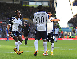 West Bromwich Albion's Victor Anichebe celebrates his goal with West Bromwich Albion's Stephane Sessegnon and West Bromwich Albion's Saido Berahino - Photo mandatory by-line: Dougie Allward/JMP - Mobile: 07966 386802 - 24/01/2015 - SPORT - Football - Birmingham - ST Andrew's Stadium - Birmingham City v West Bromwich Albion - FA Cup Forth Round