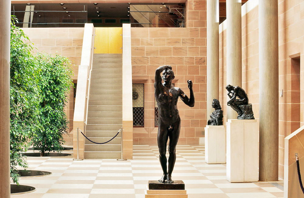 The Burrell Collection art exhibition gallery, Glasgow, Scotland. Auguste Rodin sculptures The Age of Bronze and The Thinker