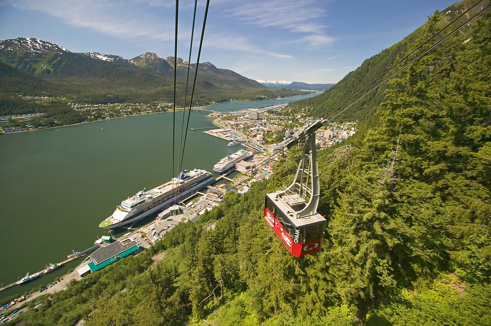USA, Alaska, Inside Passage, Juneau, Downtown and cruise ship terminal as seen from Mt Roberts Tramway