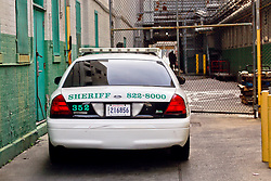 16 March 2015. New Orleans, Louisiana.<br /> The Police cruiser carrying Robert Durst arrives at at the Orleans Parish Criminal District Court before a hearing for extradition to Los Angeles.<br /> Photo; Charlie Varley/varleypix.com