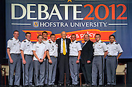 "Oct. 15, 2012 - Hempstead, New York, U.S. - Former Senator ALAN SIMPSON (Republican) is standing at center with West Point cadets who were in the audience when he spoke at Hofstra University about ?America's Debt and Deficit Crisis: Issues and Solutions.? Simpson is co-chairman of the National Commission on Fiscal Responsibility and Reform and co-leader of the Simpson-Bowles non-partisan U.S. fiscal debt reduction plan. This was part of ""Debate 2012 Pride Politics and Policy"" a series of events leading up to when Hofstra hosts the 2nd Presidential Debate between Obama and M. Romney, the next night, October 16, 2012, in a Town Meeting format."