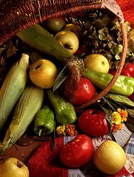 FOOD corn tomato tomatoe apple pepper grape basket flowers
