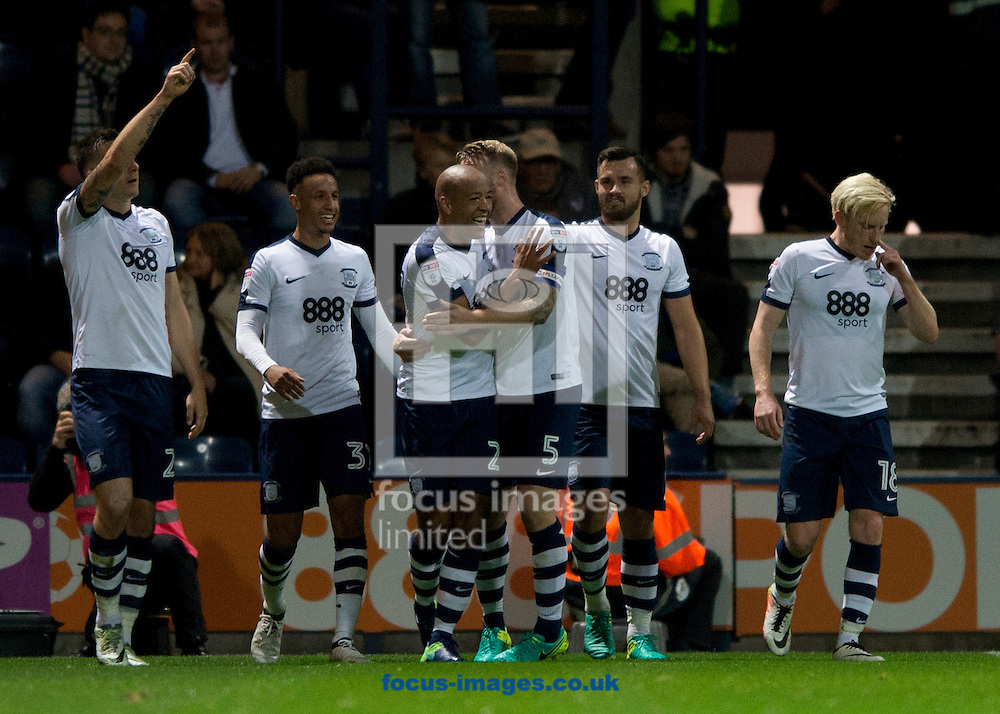 Alex John-Baptiste of Preston North End (3rd left) is congratulated by team-mates after he scores his team's 2nd goal to make it 2-0 during the Sky Bet Championship match at Deepdale, Preston<br /> Picture by Russell Hart/Focus Images Ltd 07791 688 420<br /> 19/10/2016