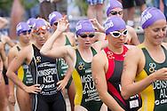 Charlotte MCSHANE 01:04:18. Urban Geelong ITU Sprint Triathlon Premium Oceania Cup. 2012 Geelong Multi Sport Festival. Eastern Beach, Geelong, Victoria, Australia. 12/02/2012. Photo By Lucas Wroe