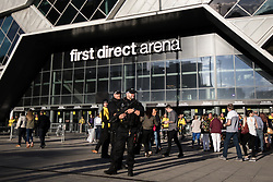 © Licensed to London News Pictures . 25/06/2017 . Leeds , UK . Armed police outside the venue ahead of the performance . Canadian singer Celine Dion performs at the First Direct Arena in Leeds in the first of two shows relocated from the Manchester Arena following a murderous terror attack at the Manchester venue on 22nd May 2017 . Photo credit : Joel Goodman/LNP