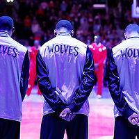 01 December 2014:  Minnesota Timberwolves players stand up during the national anthem prior to the Los Angeles Clippers 127-101 victory over the Minnesota Timberwolves, at the Staples Center, Los Angeles, California, USA.