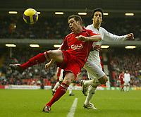 Photo: Aidan Ellis.<br /> Liverpool v Bolton Wanderers. The Barclays Premiership. 01/01/2007.<br /> Liverpool's Steve Finnan and Bolton's Idan Tal