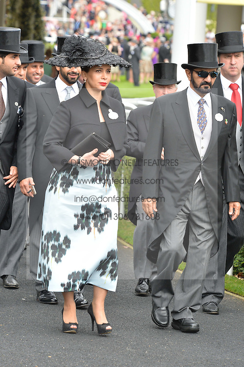 H.H. Sheikh Mohammed bin Rashid Al Maktoum and Princess Haya bint al-Hussein of Jordan at the 1st day of the Royal Ascot Racing Festival 2015 at Ascot Racecourse, Ascot, Berkshire on 16th June 2015.