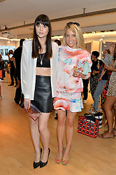 Left to right, LILAH PARSONS and OLIVIA COX at the French Connection #NeverMissATrick Launch Party held at French Connection, 396 Oxford Street, London on 23rd July 2014.