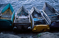 Cayucos (traditional canoes) on Lake Atitlan, Western Highlands, Guatemala