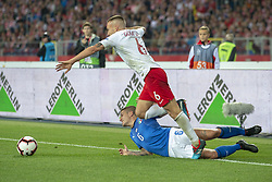 October 14, 2018 - Chorzow, Poland - Jacek Goralski of Poland and Marco Veratti of Italy during the UEFA Nations League A match between Poland and Italy at Silesian Stadium in Chorzow, Poland on October 14, 2018  (Credit Image: © Andrew Surma/NurPhoto via ZUMA Press)