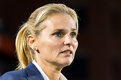 Coach Sarina Wiegman of the Netherlands women during the FIFA Women's World Cup 2019 play off first leg qualifying match between The Netherlands and Denmark at the Rat Verlegh stadium on October 05, 2018 in Breda, The Netherlands