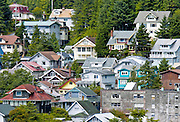 Ketchikan, Alaska. Homes dot the hillside of the Tongass National Forest in Ketchikan.