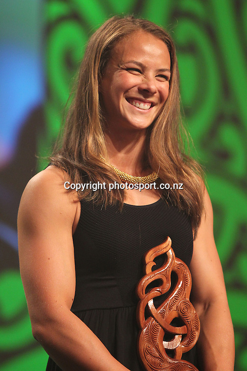 301113 2013  New Maori Sportsperson of the Year, Lisa Carrington for canoeing at the Trillian Trust Maori Sports Awards at Vodafone Events Centre, Manukau. Photo: Fiona Goodall/photosport.co.nz